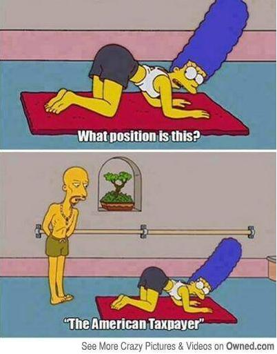 American Taxpayer Yoga Position cartoon photo