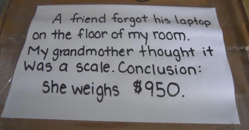 Grandma weighs 950 dollars photo