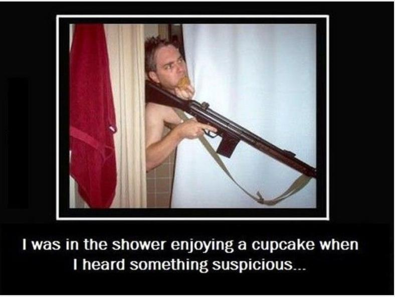 I was in the shower enjoying a cupcake funny photo