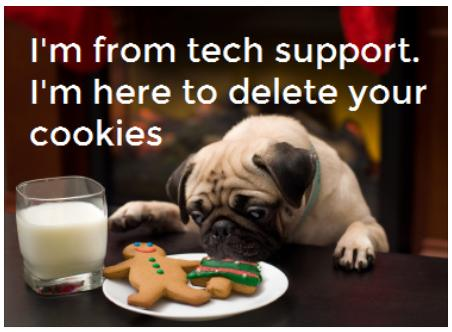 Im from tech support here to delete your cookies funny photo