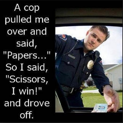 Papers scissors I win funny photo