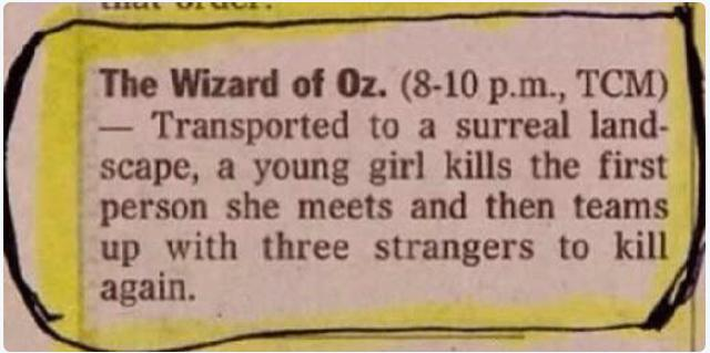 Wizard of Oz TV listing - Weird, but True