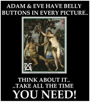 adam and eve belly button truth photo