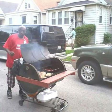 That's some serious shopping cart BBQ!