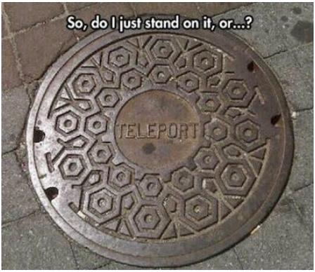 teleporter so do I stand on it or what funny photo