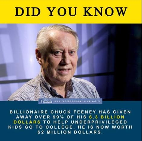 Billionaire Chuck Feeney gave away fortune cool or truth photo