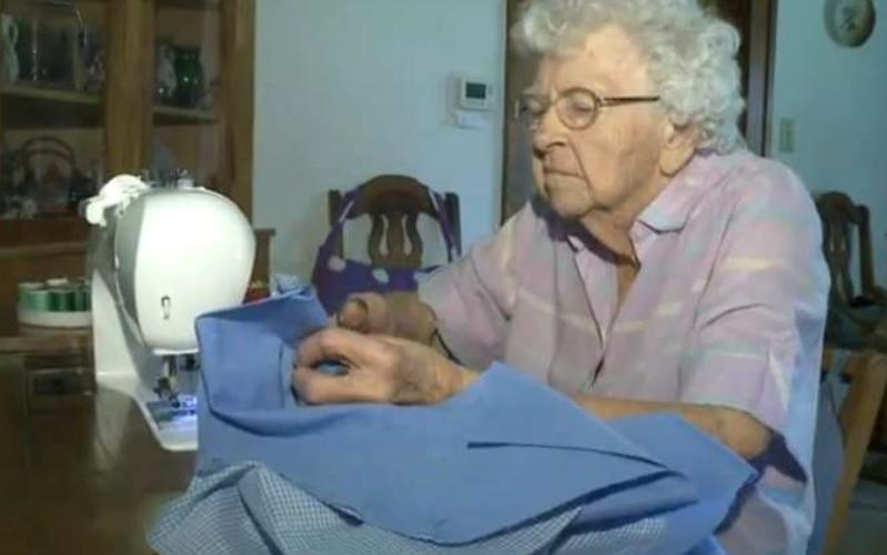 99 year old Lilian Weber has sewn hundreds of little dresses