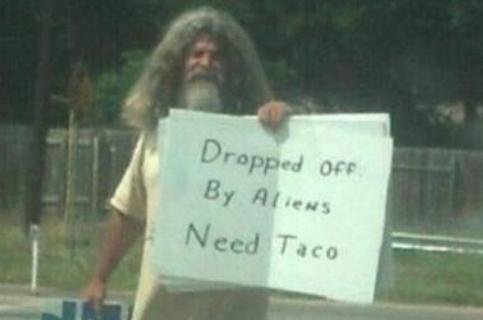 dropped off by aliens need taco weird photo