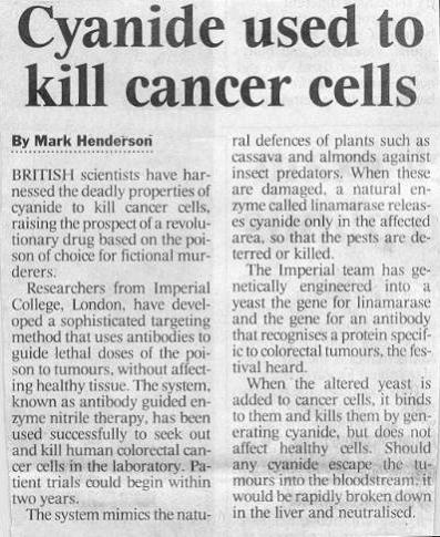 cyanide used to kill cancer cells Nannette story